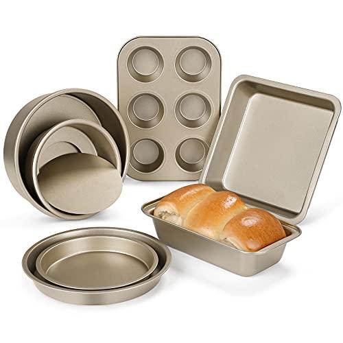 Grelae Backformen Set 7-teilig, Kuchenform Set mit Antihaftbeschichtet, Quadratische Kuchenform, Runde Kuchenform(15,5 x 20,5 cm), Pizzablech (16 x 20,5 cm), 6er Muffinform, Brotbackform, Geschenkbox