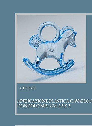Confezione 50 pezzi, Bomboniera applicazione CAVALLO A DONDOLO, in plastica, dimensione cm 2.5X3, per segnaposto, composizione confetti. (CK6114) (CELESTE)