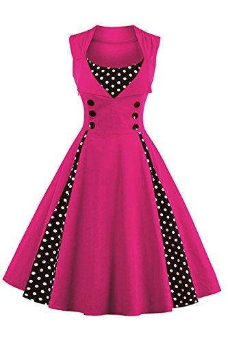 Babyonline Damen Polka Dots Vintage Kleider Winter Rockabilly Kleid Abendkleider Knielang S-4XL, Fuchsie, S