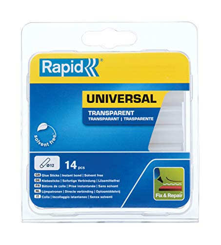 Rapid 40107356 Colla Stick 12 mm Multiuso, Trasparente, Ø12 x 94 mm