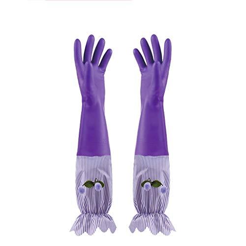 RYY ReinigungshandschuheWinter Warmer Rubber Kitchen wasserdichte Reinigungshandschuhe mit Futter, Geschirrspülen Wäscherei Hausreinigung Handschuhe 2 Paar P7Y (Color : Purple)