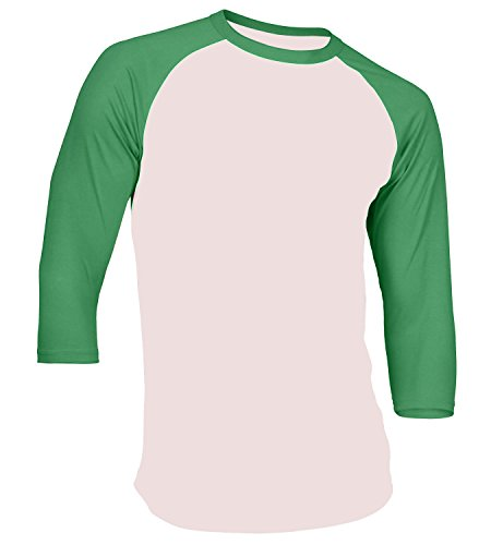 DS Men's Plain Athletic 3/4 Sleeve Baseball Sports T-Shirt Raglan Shirt S-XL Team Jersey White Kelly Green 3XL
