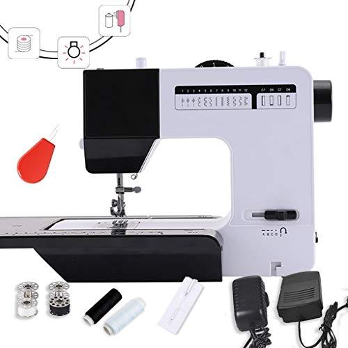 Draagbare naaimachine, naaimachine met uittrekbare tafel, zwart, draagbaar, verstelbaar, 2 snelheidsniveaus, wit/zwart, reparatiemachine met pedaal -1.6