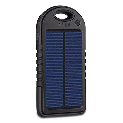 Compact Huge Capacity Power Bank Charger 40000Mah Portable Solar Panel Dual USB Battery Pack Charger Emergency Mobile External Battery Compatible Smartphone Tablet,Black,40000