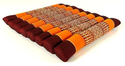 livasia Kapok Sitzkissen 35x35x4cm, Stuhlauflage, Steppkissen, Meditationskissen, Stuhlkissen (orange)