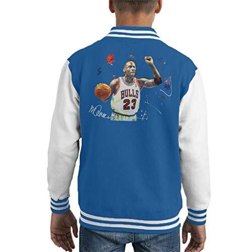 VINTRO Michael Jordan - Chaqueta de baloncesto para niños, diseño de Michael Jordan Azul real Ártico Blanco XS