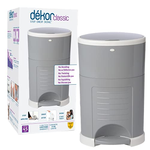 Dekor Classic Hands-Free Diaper Pail | Gray | Easiest to Use | Just Step – Drop – Done | Doesn't Absorb Odors | 20 Second Bag Change | Most Economical Refill System
