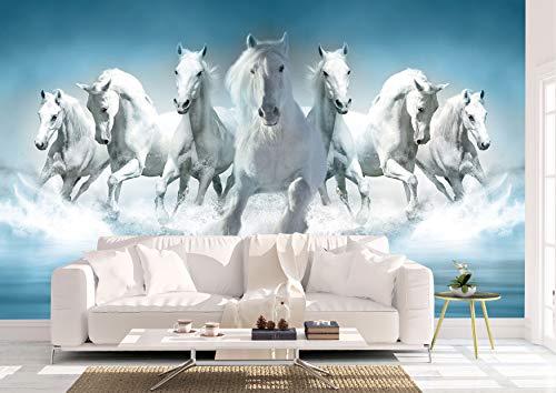Oedim Papel Pintado para Pared Caballos Blancos en Agua   Mural   Papel Pintado  500 x 300 cm   Decoración comedores, Salones, Habitaciones