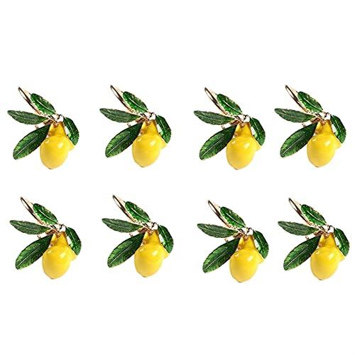 W.Z.H.H.H Anillos de servilleta 8pcs Anillos de servilleta de la servilleta de Boda de limón Hebilla de servilleta para la decoración de la Mesa Fiestas de Fiesta