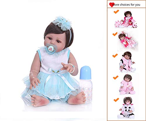 Binxing Toys Icradle Reborn Baby Dolls Silicone Full Body Girl,18 Inches 45cm Alive Baby Doll Anatomically Correct Girl, Real Bebe Doll for Girl As Xmas Gift (Waterproof)