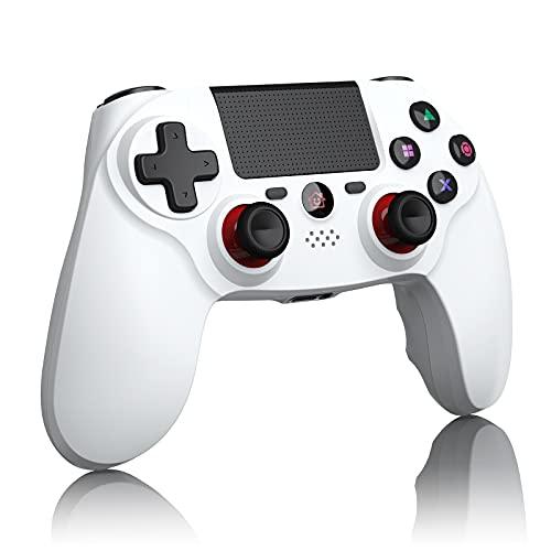 CPWORLD PS4 コントローラー fps用「2021 FPS改良」 無線 最新バージョン Bluetooth リンク遅延なし 600mAh ジャイロセンサー機能 イヤホンジャック ゲームパット 搭載 高耐久ボタン 二重振動 P4/P3/PC対応 日本語取扱説明書(ホワイト)