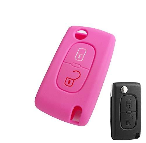 2/3 botón para Citroen Xsara Picasso C2 C3 C4 C5 C6 C8 para Peugeot 107, 206, 207, 307, 308, 406, Funda de Silicona para Llave, Soporte Fob 2BUTTONPINK