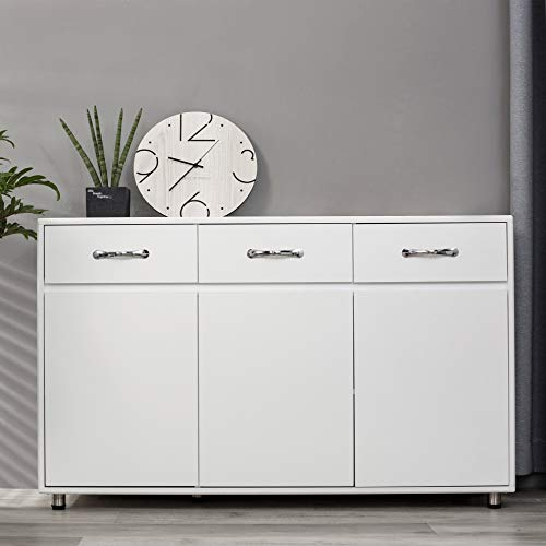 OSW Modern Sideboard Storage Cabinet with Three Doors and Three Drawers, White
