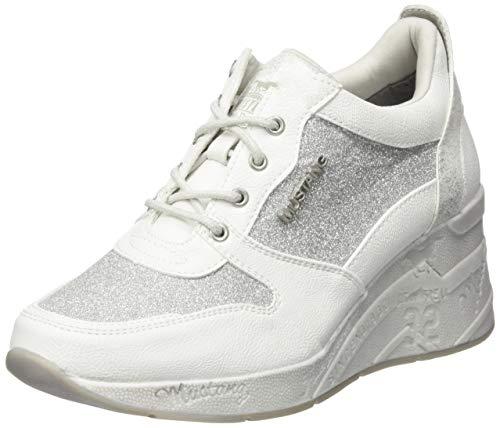 Mustang Damen 1319-301-121 Sneaker Weiß (Weiß/Silber 121), 40 EU