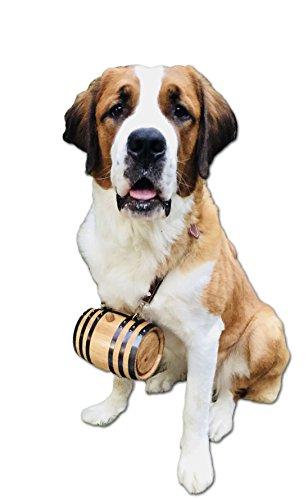 Thousand Oaks Barrel | St. Bernard Dog Collar Rescue Barrel, Personalized - Custom Engraving (1/2 Liter Size Oak Mini Keg with Black Steel Hoops for Pet)