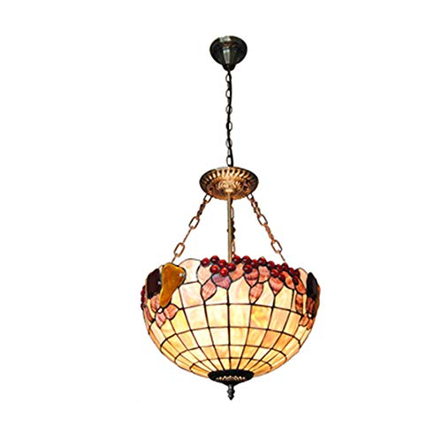 Tiffany Stile Lampadari Camera Letto, 16 Pollice Lampade A Sospensione Decorato con Frutti Colorati Paralume per Soggiorno Salotto
