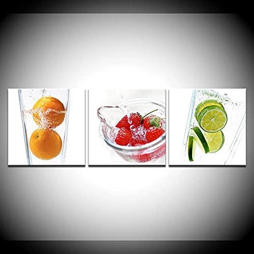 3pcs pittura di arte moderna su tela parete frutta still life immagini Home Decor per la sala da...