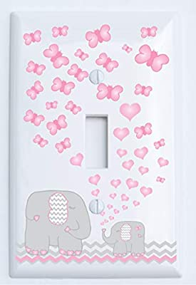 Pink Elephant Light Switch Plate and Outlet Covers / Elephant Nursery Decor with Grey and Pink Chevrons with Pink Hearts and Butterflies