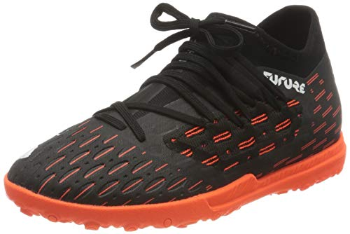 PUMA Unisex Future 6.3 Netfit Tt Jr Fußballschuh, Black White Shocking Orange, 37.5 EU