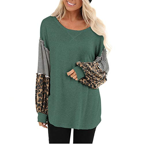 Dasongff dames sweatshirt ronde hals lantaarn mouwen top trui contrast patchwork elegant longshirt casual luipaard shirt lange mouwen Small groen