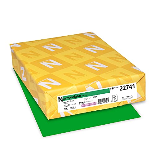 """Astrobrights Colored Cardstock, 8.5"""" x 11"""", 65 lb / 176 GSM, Gamma Green, 250 Sheets (22741)"""