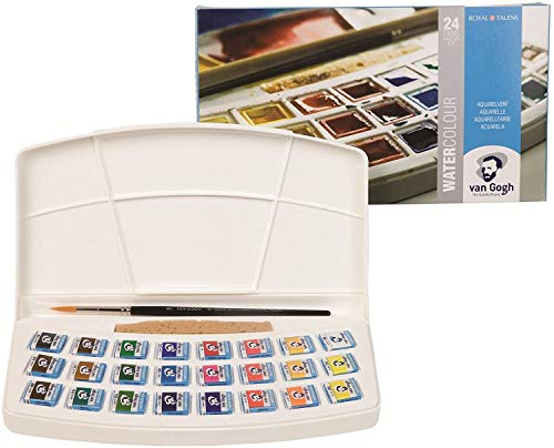 Royal Talens - Van Gogh Water Colour - Plastic Painting Box of 24 Paints with Brush