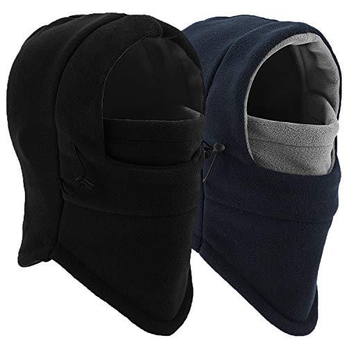 Balaclava Ski Mask - Windproof Fleece Adjustable Winter Mask for Men Women (Black+Dark Blue/Gray)