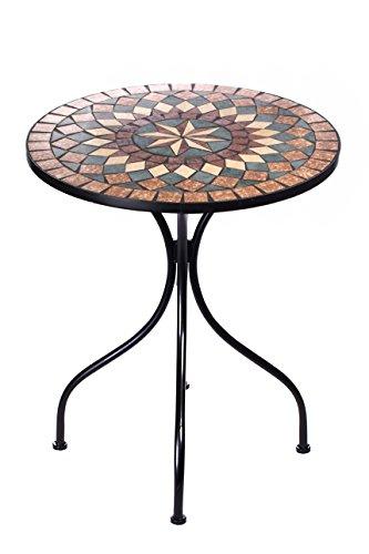Sarah B Hochwertiger aufwendig gearbeiteter Mosaik Tisch NA1514-B32 Stabiler GartenTisch Balkontisch, Bistrotisch Schweres Beschichtetes Metall, Wetterfest, Tisch