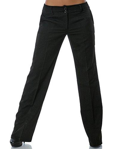 Damen Business Hose Straight Leg Gerades Bein Stoffhose DA 13572 Farbe Schwarz Größe 2XL / 44