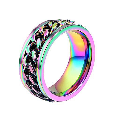 JIANLISP Anillo de la Cadena del Acero Inoxidable de 8 mm del Arco Iris del Orgullo de LGBT Spinner Masculino