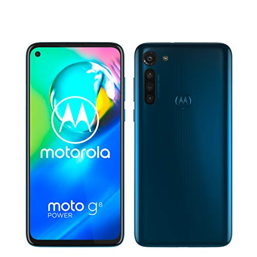 "moto g8 power Dual-SIM Smartphone (6,4""-Max Vision-HD+-Display, 16-MP-Hauptkamera, 64 GB/4 GB, Android 10) Blau inkl. Schutzcover & KFZ-Adapter - exklusiv bei Amazon"