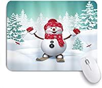 KAPANOU マウスパッド、モミの木とスキー雪だるまの楽しい休日の活動とクリスマスの雪に覆われた山 おしゃれ 耐久性が良い 滑り止めゴム底 ゲーミングなど適用 マウス 用ノートブックコンピュータマウスマット