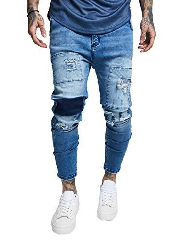 Sik Silk Herren Jeans Drop Crotch Patch Denims SS-13402 Blau Washed Blue, Größe:L