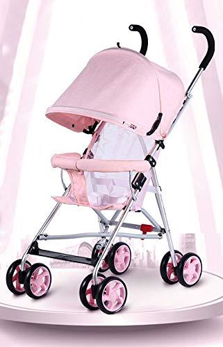 XIAOTING Kinderwagen-Buggy-Kinderwagen mit Vorzelt, Compact Easy Fold for Kinder von der Geburt bis 25kg (Color : Pink)