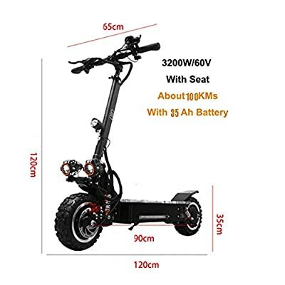 GOG Electric Scooters,3200W Dual Suspensions Electric Scooter Adult Max Speed 90Km/H Off with Seat Road Motorcycle Electric Scooter for Adults,20Ah-Withoutseat,35Ah-Withseat