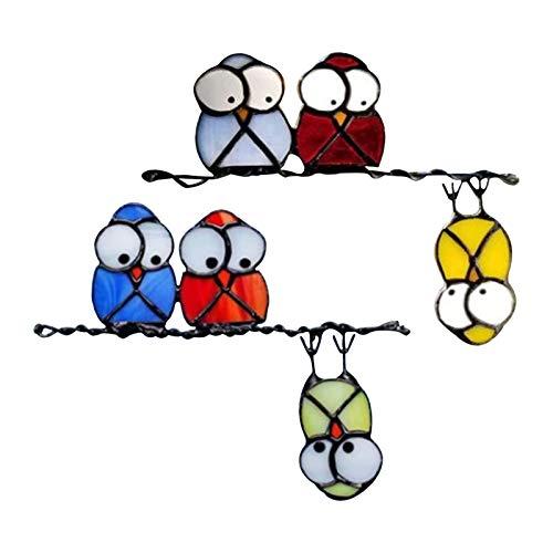 LANGM 2PC Vogel-Fensteraufkleber, Fensterbilder Niedliche Vogel Familie, Hochwertiger Window-Sticker 3D Tiere Selbstklebend Fensterfolien