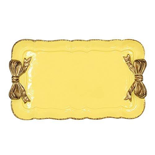 Cajas de almacenamiento bañadas en oro con diseño de lazo, postre, frutas, pasteles, bandejas de almacenamiento, platos de resina de estilo europeo, encantadora decoración retro del hogar (color: Y)