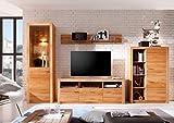 Froschkönig24 Reading Wohnwand Anbauwand Wohnzimmer 4-teilig Eiche massiv geölt, LED-Beleuchtung:mit LED-Beleuchtung