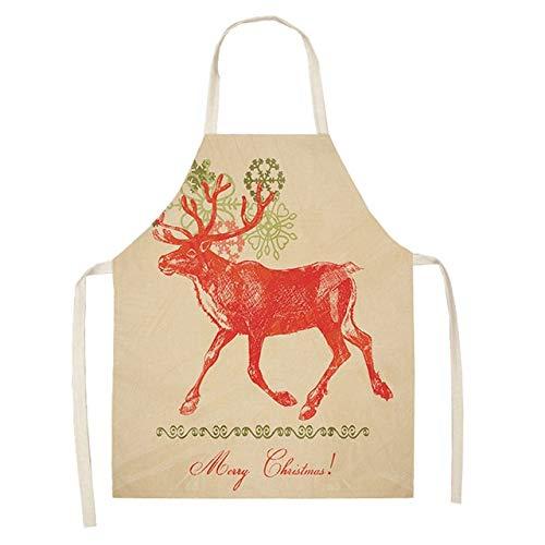 QZXCD-schort Kerstmis schort Kerstman sneeuwman katoen linnen schorten volwassenen slabbetjes 53 * 65 cm voor thuis keuken koken bakken 1 stuk