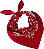 Tobeni 548 Bandana Head Cloth Collo in Tessuto Nicki 100% Cotone Unisex Colore Triplo-Dot Rosso Taglia 54 cm x 54 cm