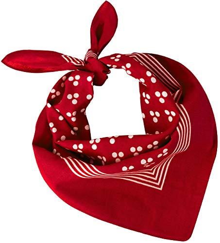 Tobeni 548 Damen Herren Nickituch Kopftuch Bandana Halstuch Baumwolle Unisex Farbe Triple-Point Rot Grösse 54 cm x 54 cm