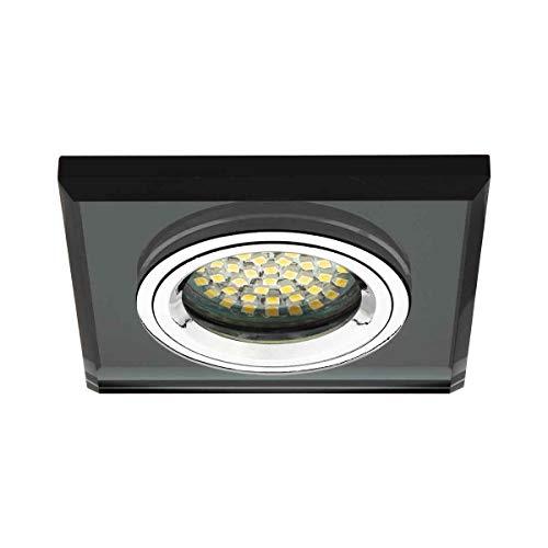 Kanlux Einbaustrahler Quadrat, Glas, schwarz, 230V, GU10