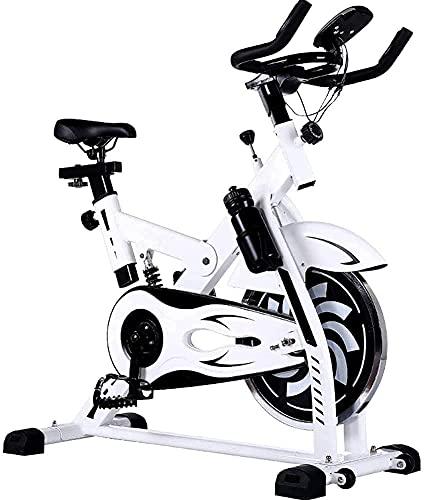 SAFGH Bicicleta estática para Interiores, Bicicleta giratoria Pantalla LCD Resistencia Ajustable Viga Principal Engrosada Adecuada para Ejercicio aeróbico en Interiores, Blanco (Color: Blanco)
