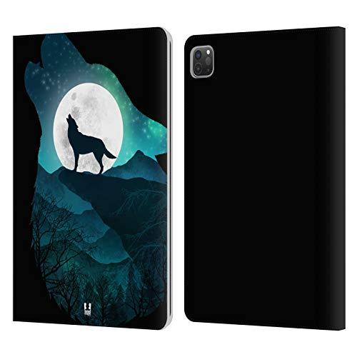 Head Case Designs Lobo Doble exposición Animal Carcasa de Cuero Tipo Libro Compatible con Apple iPad Pro 11 (2020/2021)