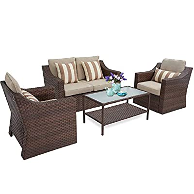 SUNCROWN 4 Piece Outdoor Patio Furniture Conversation Set Rattan Wicker Chairs with Glass Top Table All-Weather and Thick Cushion Covers(Brown)