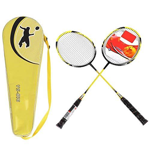 DAUERHAFT Juego de bádminton de aleación de Aluminio Amarillo Negro Raquetas de bádminton Profesionales Battledore Ligero de Alta Resistencia para el hogar para Jugadores Aficionados para