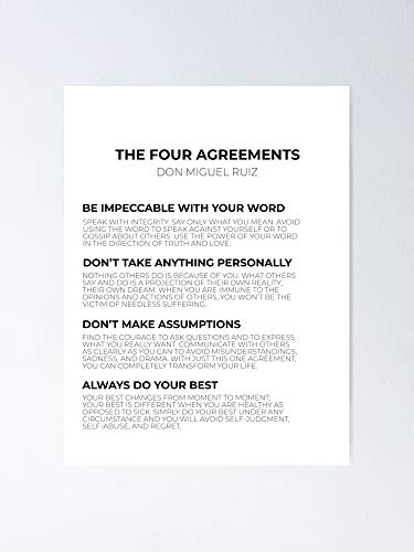 """halobros The Four Agreements Poster - Best Gift for Your Parent and Peoples, Decorate Room. No Frame Board, 12.75"""" X 17"""""""