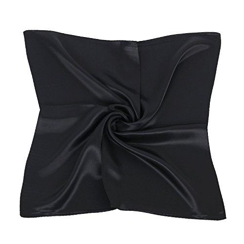 PB-SOAR Damen Mädchen Glänzend Halstuch aus 100% Seide, Seidentuch Seidenschal Schal Bandana Kopftuch Nickituch, 52 x 52cm (Schwarz)