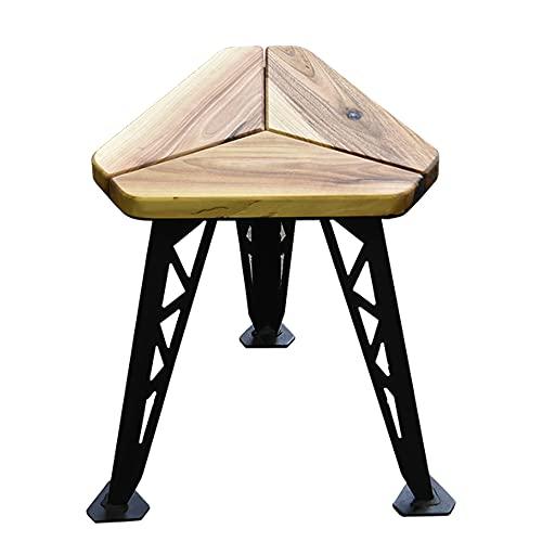 Holzhocker, Industriehocker mit Stahlbeinen, Küchenhocker, Holzbarhocker, Heimhocker, Designer-Hocker, Walnuss-Hocker, rückenfreier Stuhl für Zuhause, Restaurant, Café, Bar (42,5H x 30W x 34D) cm)