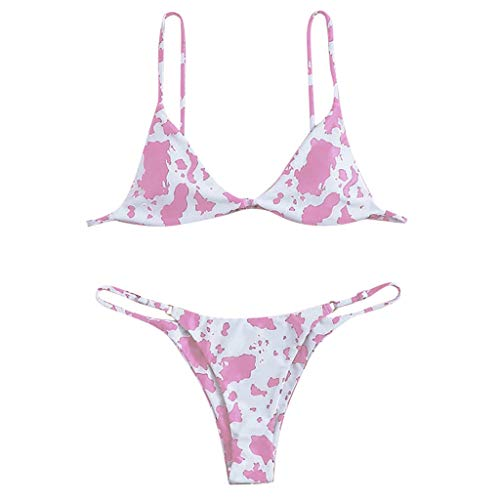 NISOWE Damen Bikini-Set mit Blumenmuster und Random Print, Push-Up-Badeanzug, Strandbekleidung, gepolsterte Badebekleidung